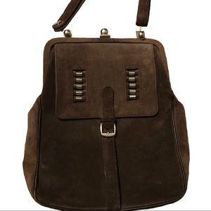 Handbags - Retro brown suede handbag